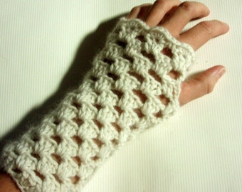 Fingerless Gloves - Crocheted All-Natural Armwarmers - White Angora Handwarmers - Fabulously Fuzzy Line - Snow White