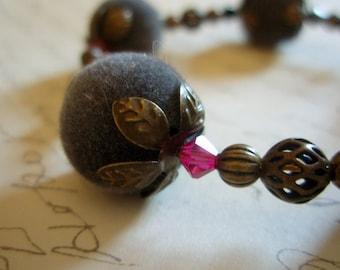 SALE - Memory Wire Velvet and Swarovski Bangle Bracelet - Fabulously Flocked Floral Bracelet - Unique Antiqued Brass Filigree Beaded Jewelry