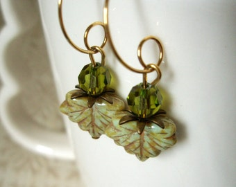 Sale - Earrings - Green Czech Glass Fall Leaves Olivine Swarovski Crystals and Antiqued Brass Small Gold Hoop Dangle Earrings