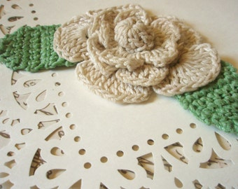 Crocheted Brooch - Ivory Rose Flower Pin - Crocheted Pin - Fiber Jewelry - Sage Green and White