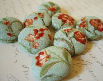 Buttons - Vintage-Inspired Sea Green and Orange Red Romantic Floral Fabric-Covered Shanked or Flat-Backed Buttons - Vintage Style Floral Set