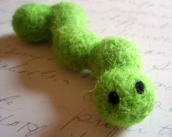 Slimey the Needle Felted Caterpillar