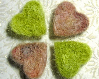 Needle Felted Heart Magnets -- Shades of Shabby Mohair