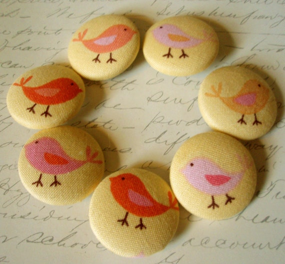 Last Set - Buttons - Little Bird Fabric-Covered Buttons - Last Sets - Fabric-Covered Buttons - Covered Buttons - Fabric Animal Buttons