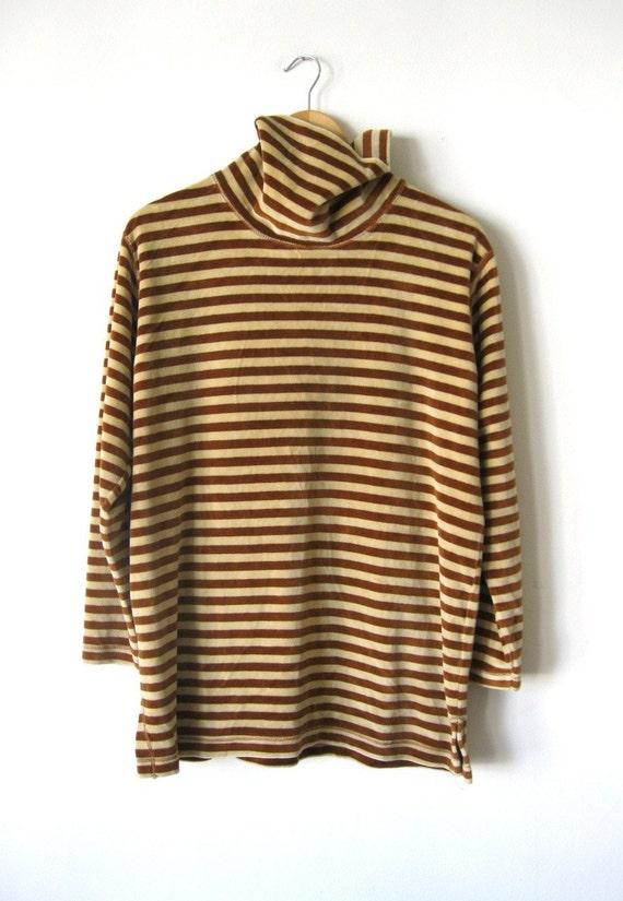 Velour Striped Turtleneck/Mini Dress