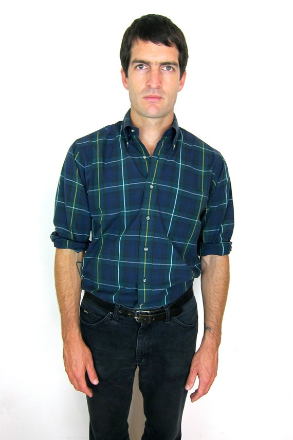 Green and Blue Plaid 80's Shirt