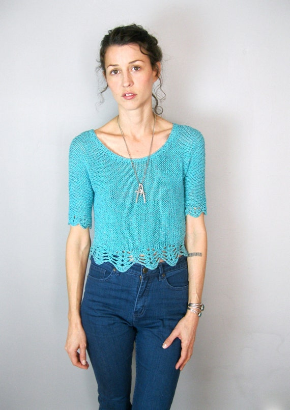 Turquoise Green Knit Cropped Sweater