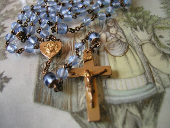 Danusharose VINTAGE Dainty Feminine MINT Condition Cornflower Baby Boy Blue Glass Brass Rosary Engraved Daley or Vintage Rosary Necklace