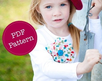 PDF Tutorial for Ruffle Rosette, Brooch, Hair Clip, Headband, Make and Sell. Instant Download Digital Sewing Pattern