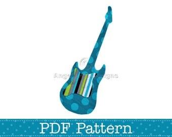 Electric Guitar Applique Template, Musical Instrument, DIY, Children, PDF Pattern by Angel Lea Designs