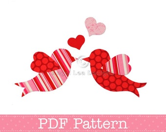 Love Birds Applique Template, Valentine's Day, DIY, Children, PDF Pattern by Angel Lea Designs