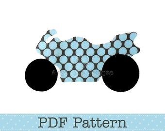 Road Bike Applique Template, Motorbike Template, Transport, DIY, Children, PDF Pattern by Angel Lea Designs