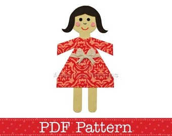 Paper Chain Doll Applique Template, DIY, Children, Girl, PDF Pattern by Angel Lea Designs