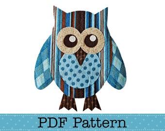 Owl Applique Template, Bird, Animal, Owl on Branch, Valentine Owl, DIY, Children, PDF Pattern by Angel Lea Designs