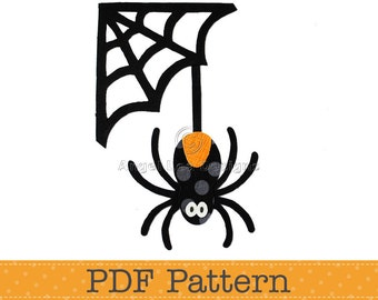Spider and Web Applique Template. Halloween Applique Designs. PDF Template. Pattern by Angel Lea Designs