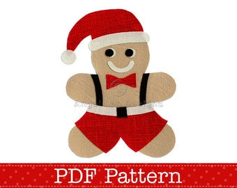 Gingerbread Santa Applique Template. Christmas Gingerbread Man. Make Your Own Embellishments. DIY. PDF Pattern by Angel Lea Designs
