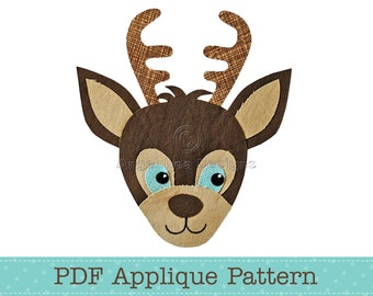 Deer Applique Template PDF Applique Pattern Animal Fawn Reindeer Baby Boy and Girl, Instant Download