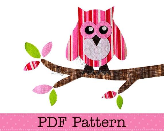 Owl on Branch Applique Template, Bird, Animal, DIY, Children, PDF Pattern by Angel Lea Designs, Instant Download Digital Pattern