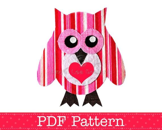 Valentine Owl Applique Template, Bird, Animal, Owl on Branch, DIY, Children, PDF Pattern by Angel Lea Designs, Instant Download