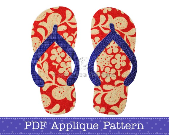 Thongs Applique Template Flip Flops Sandals PDF Applique Pattern
