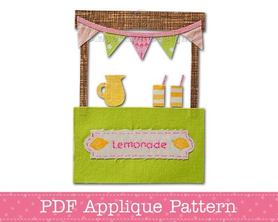 Lemonade Stand Applique Template PDF Applique Pattern Summer Applique Design Child's Lemonade Stand