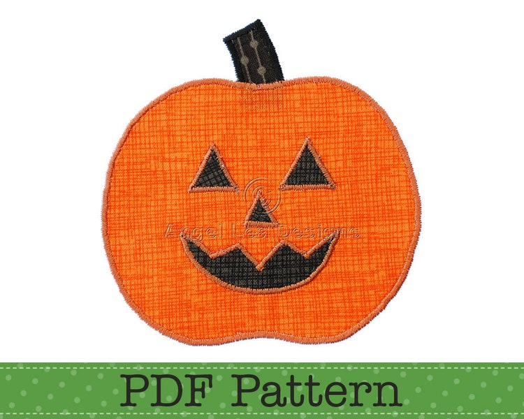 Pumpkin Applique Template  Jack O Lantern By Angelleadesigns