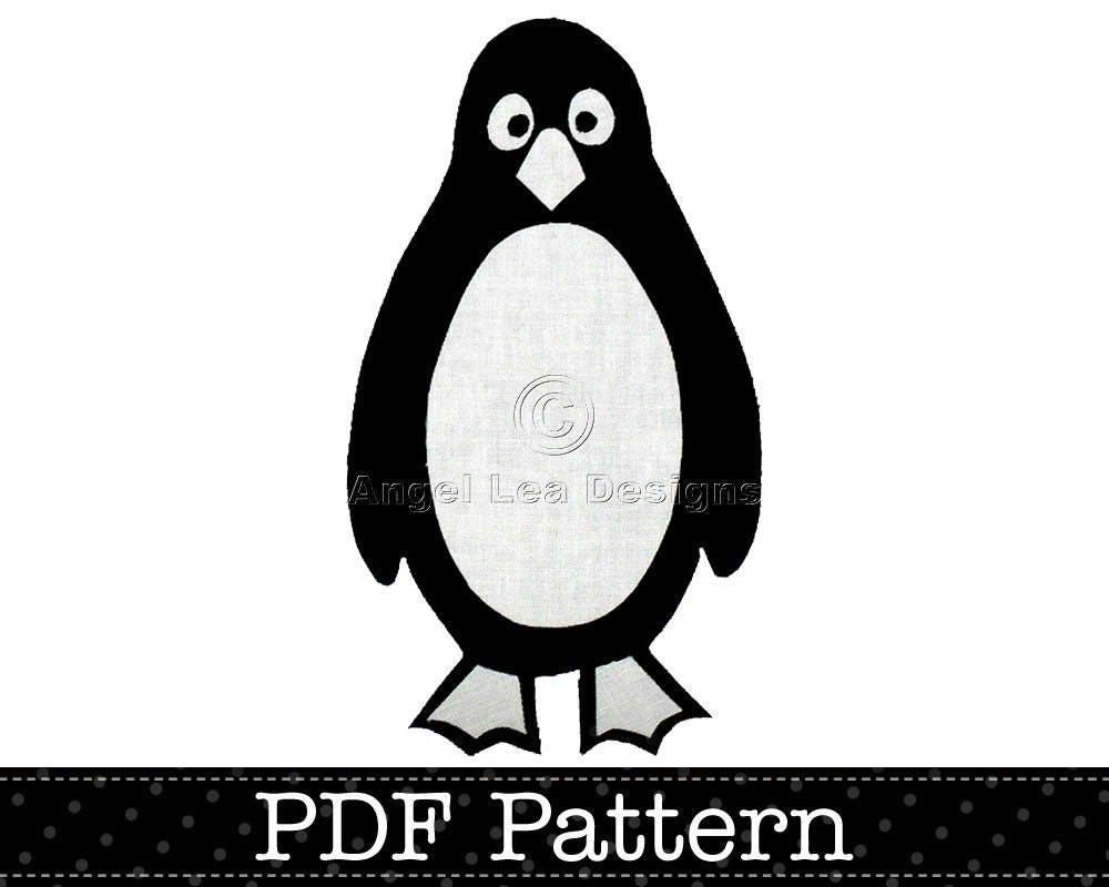 Penguin Applique Template Bird Animal DIY by AngelLeaDesigns