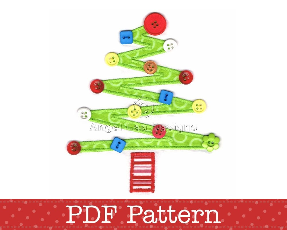 Christmas Tree Applique Template DIY. PDF by AngelLeaDesigns