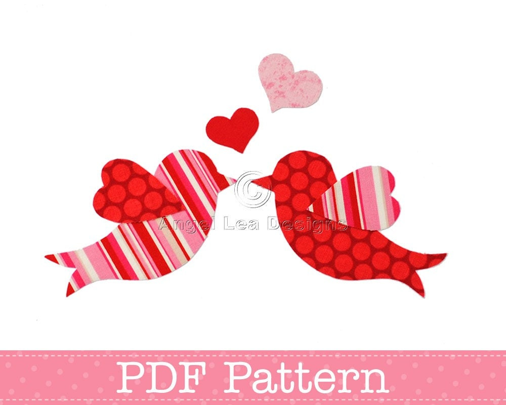 Love birds applique template valentine 39 s day diy The designlover