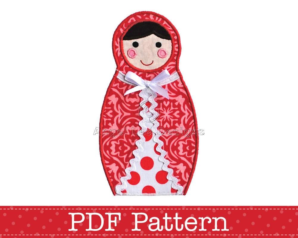 babushka doll applique template diy children pdf pattern