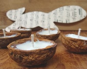 Squirrel Lights---Set of  12 Soy Wax and Walnut Shell Floating Votives Vegan