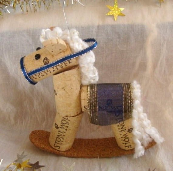 Wine cork rocking horse ornament white and dark blue for Cork balls for crafts