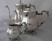 English Silver Coffee Tea Creamer Set Silverplate Serving Pieces