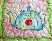 Tea and Sweets - cherry teapot - Mug Rug or Candle Mat  Oversized Coaster number 228
