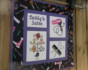 Hair Stylist quilt - Made to order  18 inch square wall hanging - hairdresser