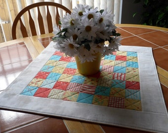 Moda Lovely quilted table topper - by Sandy Gervais - 22 inch square - Galaxy Coffee - reversible