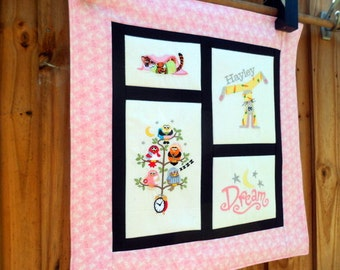 Personalized Bedtime quilt - Embroidered wall hanging 21 inches