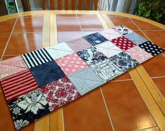Lost & Found by Jen Allyson for Riley Blake Quilted Table Runner 13 in x 31 in / pink, black, white, grey, damask, paisley