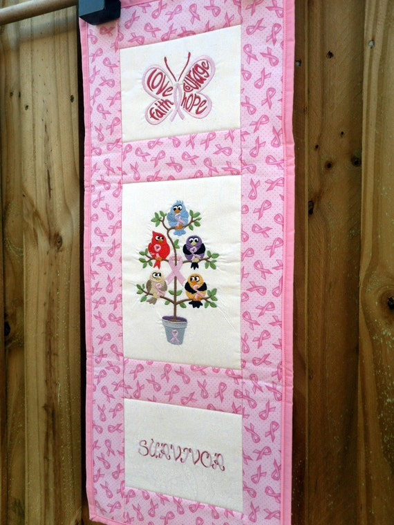 Pink Ribbon embroidered and quilted wall hanging / banner HAVE IT PERSONALIZED 11 in x 26 in