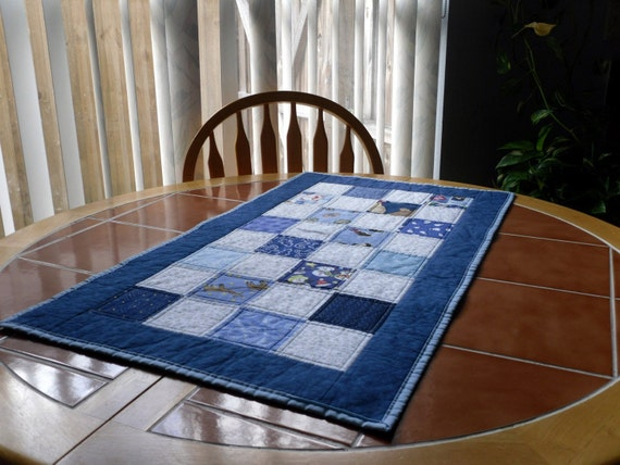 Quilted Winter Table Runner - 19 in. x 33 in. blue and white
