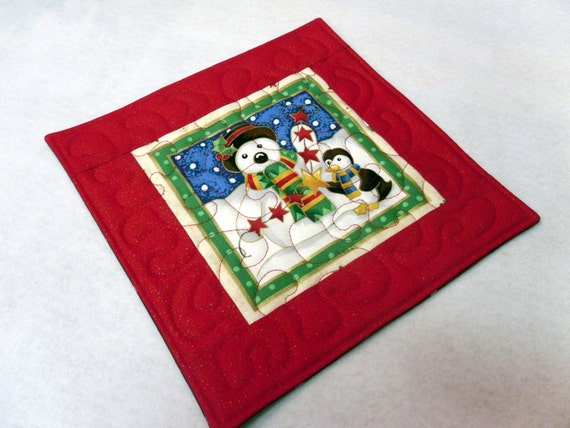 Snowman and Penguin Mug Rug or Candle Mat  Oversized Coaster number 312