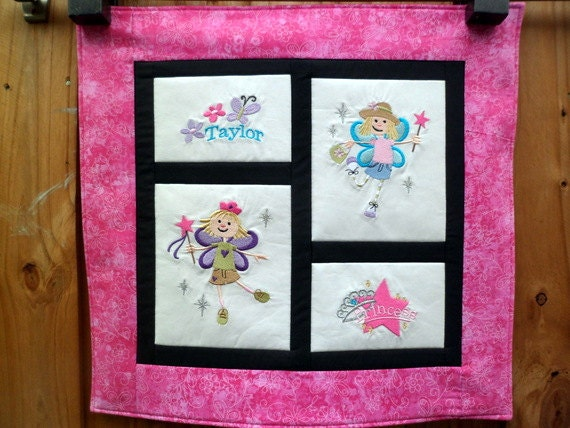 Personalized Fairy Princess quilt - Embroidered wall hanging 21 inches - Made to order - custom quilt