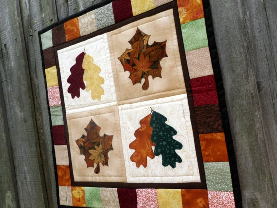 Fall Leaf Quilted Wall Hanging Applique