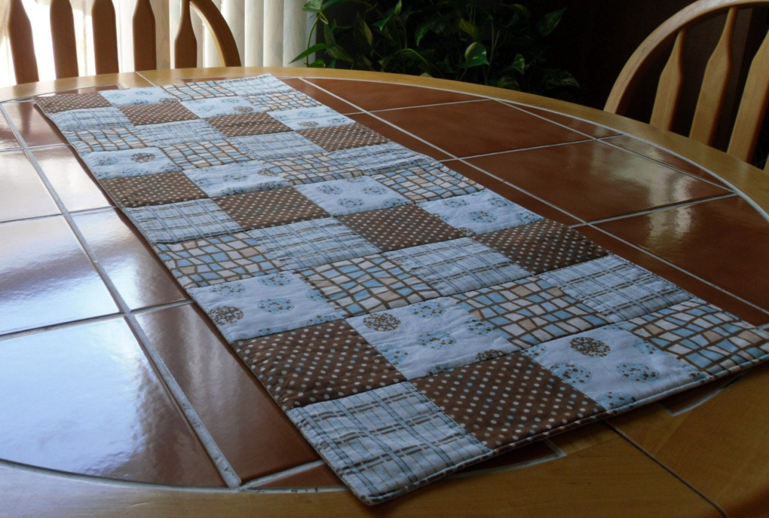 Brown With Blue Quilted Table Runner 13 In X 33 By