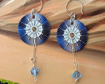 Pretty Blue Silver and White Watch Face Dangle Earrings with free domestic shipping!