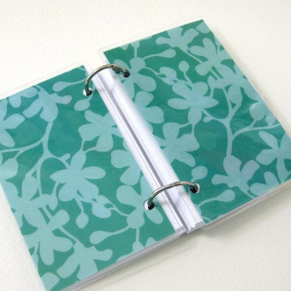 3 x 5 Index Card or Note Card Binder, Teal Flower