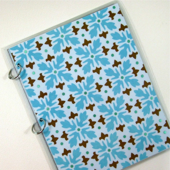 Three Ring 9 x 11 Notebook Binder, Blue and Brown Medallion