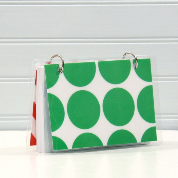 SALE 4 x 6 Index Card or Note Card Binder, Big Green Circle