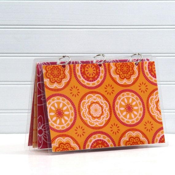 Three Ring Binder Journal, 6 x 9, SALE Orange and Hot Pink