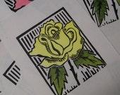 Yellow Rose, Block Print
